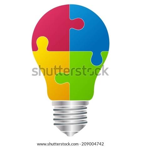 Idea bulb in puzzle form - Vector format - stock vector