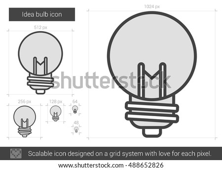 Idea bulb vector line icon isolated on white background. Idea bulb line icon for infographic, website or app. Scalable icon designed on a grid system.