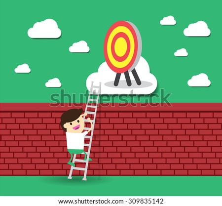 Idea Businessman climbing ladder to Success. Vector illustration. Businessman climbing to goal. Motivation concept to be successful. winner. finish. win. flat design.dream - stock vector