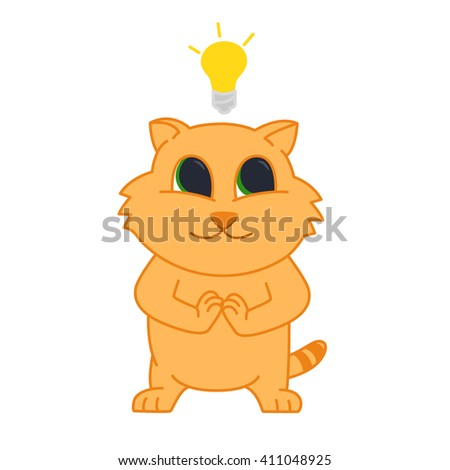 Idea Cat With A Light Bulb Over His Head Emotion Conceived Ideas Red