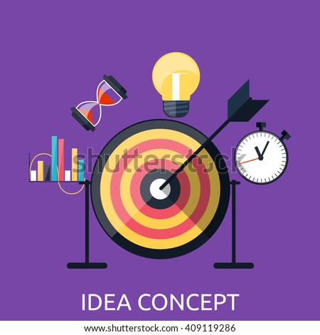Idea concept background. Glowing light bulb as inspiration concept. Light sign ideas. Vector lightbulb icon. Creative idea in bulb shape. New idea logo. Arrow hit the center - stock vector