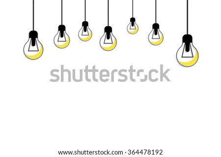 Idea concept background. Glowing yellow light bulb as inspiration concept. Light sign ideas. Vector light bulb icon. Bulb light idea. Creative idea in bulb shape. Bulb icons with idea. New idea - stock vector