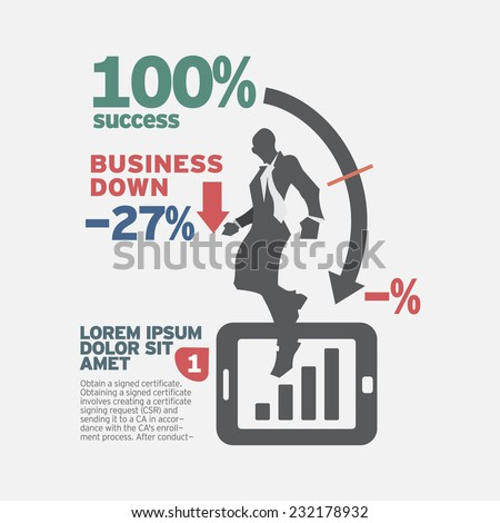 Idea concept design. Business Down. - stock vector