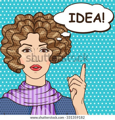 Idea concept, pop art girl with speech bubble and message IDEA! Vector vintage curly hair brunette woman pointing up finger, comic style illustration. - stock vector