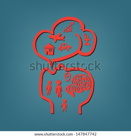 Idea concept with head and basic human needs in bubble the speech. - stock vector