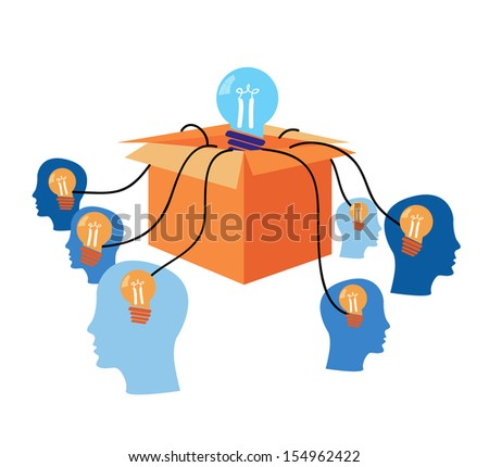 idea concept with human heads - stock vector
