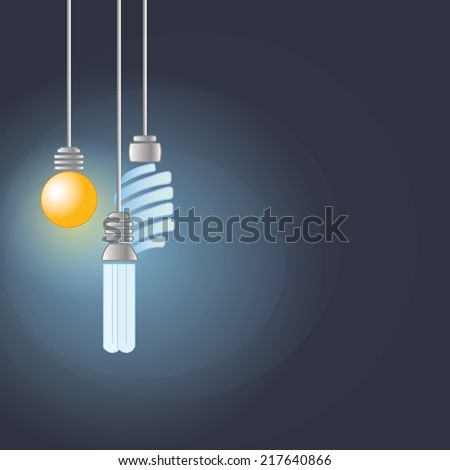 Idea concept with light blubs in the dark - stock vector
