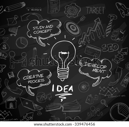 idea concept with light bulb and doodle sketches infographic icons hand drawn.Doodle design style :finding solution, brainstorming, creative thinking. Modern style illustration for web banners - stock vector