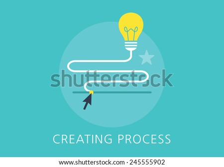 idea creating process concept flat icon - stock vector