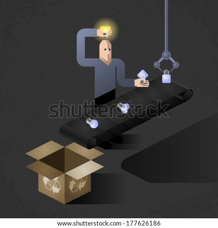 Idea Finder (vector version). Cartoon inventor inserting light bulbs into his head - one by one. Picture, illustrated an allegory of inventions - stock vector