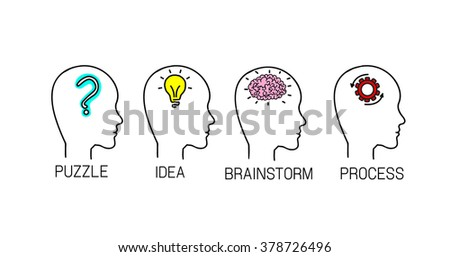 Idea flat icon set. Vector infographic. Thinking man silhouette. Isolated on white.