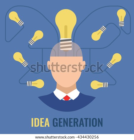 Idea Generation isolated vector, lots of ideas, concept brainstorm - stock vector