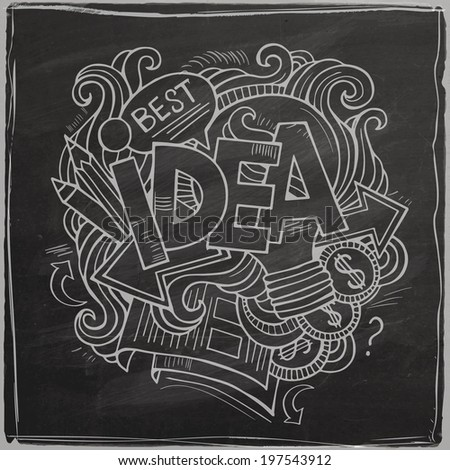 Idea hand lettering and doodles elements background On Chalkboard. Vector illustration - stock vector