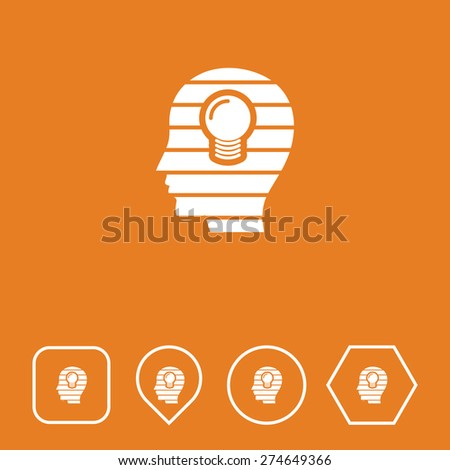 Idea Head Icon on Flat UI Colors with Different Shapes. Eps-10. - stock vector