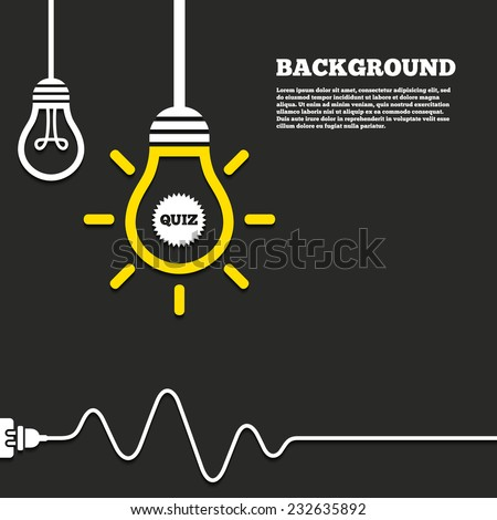 Idea lamp with electric plug background. Quiz star sign icon. Questions and answers game symbol. Curved cord. Vector - stock vector