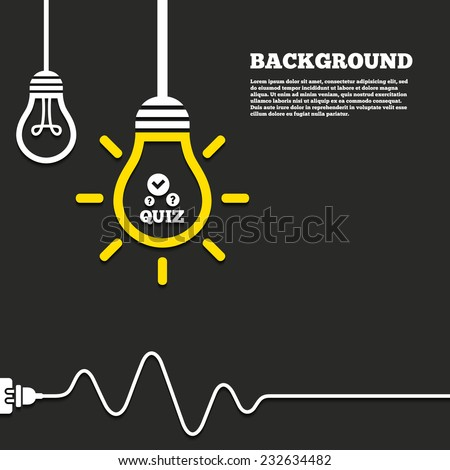 Idea lamp with electric plug background. Quiz with check and question marks sign icon. Questions and answers game symbol. Curved cord. Vector - stock vector