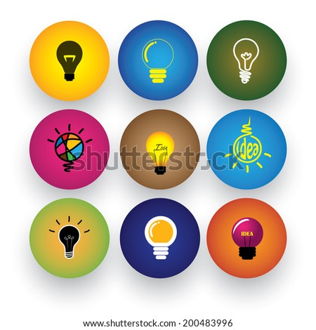 idea light bulb, brilliance, genius, smart, clever vector icons. This graphic also represents excitement, inspiration, enthusiasm, problem solving, clever solutions, smart thinking - stock vector