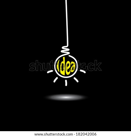 idea light bulb hanging in black background - concept vector icon. This graphic also represents creative problem solving, genius mind, smart thinking, inventive mind, innovative man, abstract thought - stock vector
