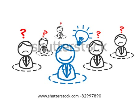 idea man in business network - stock vector