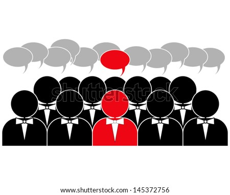 idea of a leader in the social media group - stock vector