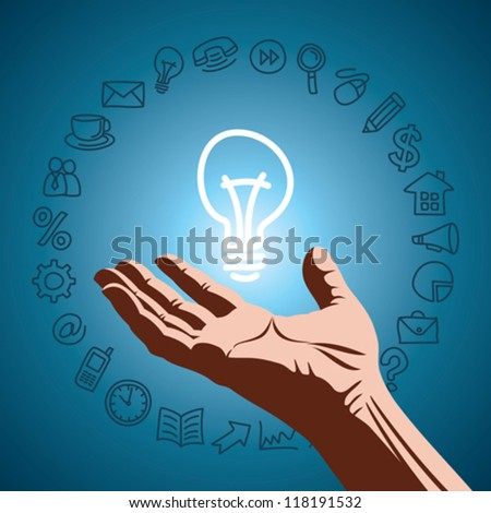 idea of icon with human hand - stock vector