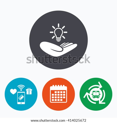 Idea patent insurance sign. Hand holds lamp bulb symbol. Intellectual Property. Mobile payments, calendar and wifi icons. Bus shuttle. - stock vector