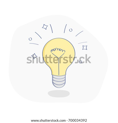 Idea, solution concept, flat line lightbulb. Business cartoon symbol of creative and imagination. UX / UI element for web and mobile design.