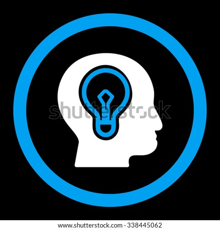 Idea vector icon. Style is bicolor flat rounded symbol, blue and white colors, rounded angles, black background. - stock vector