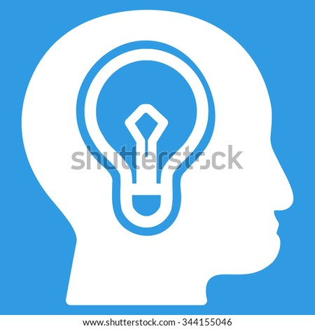 Idea vector icon. Style is flat symbol, white color, rounded angles, blue background. - stock vector