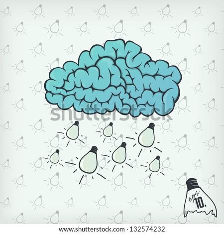 Ideas falling from brain cloud - stock vector