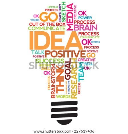 Ideas Sphere Bulb Concept Words Cloud - stock vector