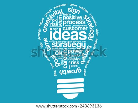 Ideas Sphere Bulb  Words Cloud, business vector concept - stock vector