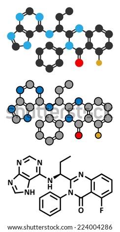 Idelalisib leukemia drug molecule. Inhibitor of phosphoinositide 3-kinase (PI3K). Stylized 2D rendering and conventional skeletal formula. - stock vector