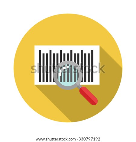 Identification barcode sticker with magnifying glass. Flat icon with long shadow - stock vector