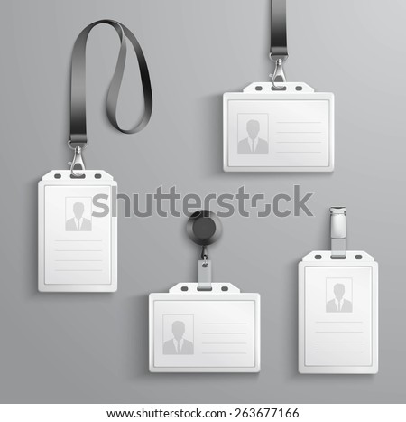 Identification white blank plastic id cards set with clasp and lanyards isolated vector illustration - stock vector