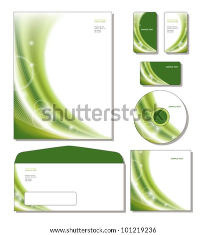 Identity System Template Vector - letterhead, business and gift cards, cd, cd cover, envelope. - stock vector