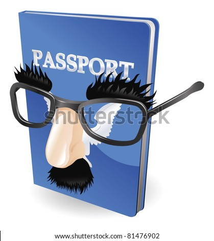 Identity theft concept. Passport wearing a disguise of fake glasses and nose. - stock vector