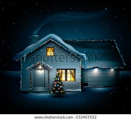 Idyllic family house on idyllic snowy Christmas night - stock vector