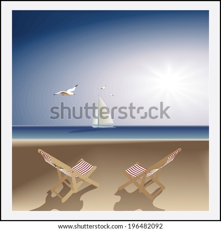 Idyllic seascape. evening deserted beach, two lounge chairs, sailboat and seagulls. Vector