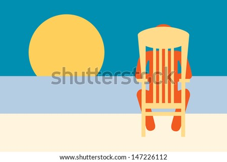 Idyllic Tropical Beach Vacation , person  relaxing by the sea under the  sun  - stock vector