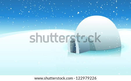 Igloo And Polar Icy Background/ Illustration of a cartoon igloo house inside white icy north pole winter landscape - stock vector