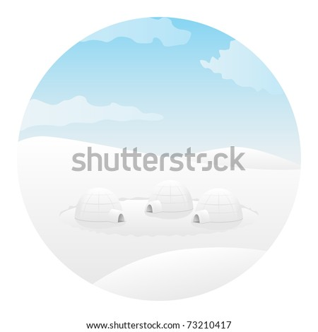Igloo. Arctic landscape. Vector illustration. - stock vector