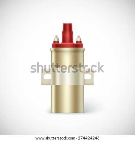 Ignite coil car part.  Vector illustration isolated on white background - stock vector