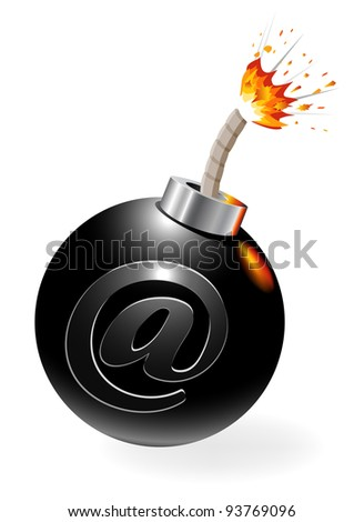 Ignited bomb with at-symbol - stock vector