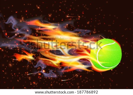 Ignited tennis ball flying through the air - stock vector