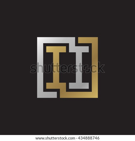 II initial letters looping linked square elegant logo golden silver black background