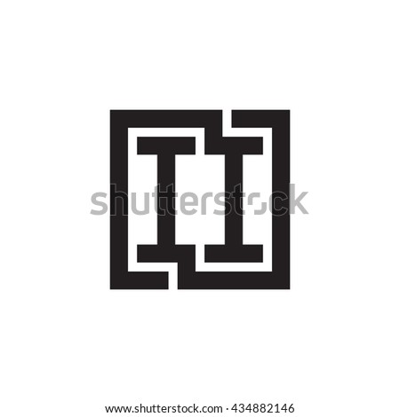 II initial letters looping linked square monogram logo