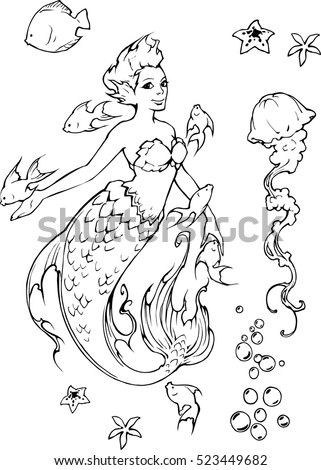 IIlustration of a beautiful elegant cartoon fantasy mermaid in outline  surrounded by sea creatures
