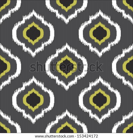 Ikat seamless pattern for web design or home decor, feather seamless illustration - stock vector