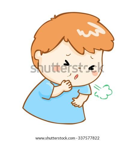 ill boy coughing hard cause flu disease vector - stock vector